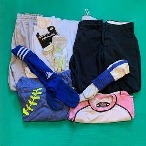 Pants - Softball pants,under shirt,socks,tee,new gloves.